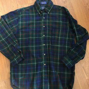 Pendleton Plaid Long Sleeve Virgin Wool Shirt Mens